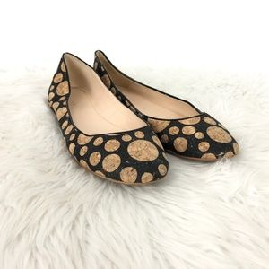 Nine West Adora Black Cork Polka Dot Flats